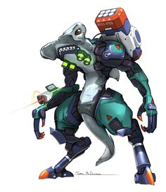 The concept art (by Arnold Tsang) for Overwatch is brilliant. Here's my comparatively overworked attempt at a character. It's a hammerhead shark with mechanical arms and legs and an MLRS for good measure.