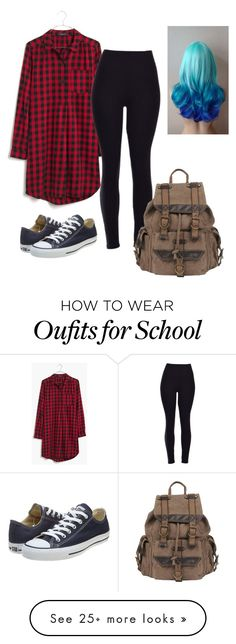 """""""School tomorrow"""" by hogwartsowl-217 on Polyvore featuring Madewell, Converse, Wilsons Leather, women's clothing, women, female, woman, misses and juniors"""