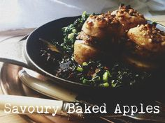 Guest Post : Alice from Girl in a Food Frenzy featuring Savoury Baked Apple with pork & walnut stuffing, with braised Cavalo Nero
