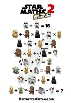 Star Maths 2 – May the be with you – Star Wars Day – MatematicasCercanas Math Talk, Math 2, Maths Puzzles, Educational Activities For Kids, Math Activities, Happy Star Wars Day, Preschool Art Projects, Math Challenge, Math Jokes