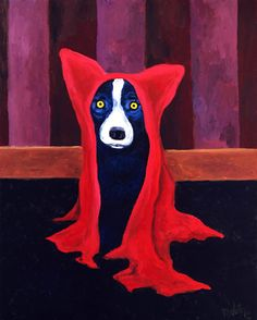 Blue Dog with Red Cape - Born and raised in New Iberia, Louisiana, artist George Rodrigue (b. 1944) is best known for his Blue Dog paintings , which catapulted him to worldwide fame in the early 1990s.