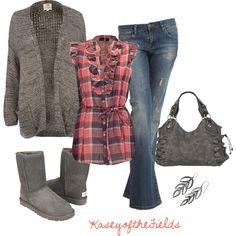Pink or Red plaid sleeveless top, Dirty wash destroyed (skinnies), Grey cardi, Grey Uggs, Grey satchel, Silver earrings