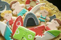 Cookies by www.SoonerSugar.com Shark/beach/surfboard/swim cookies