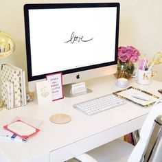 Click the photo to shop the look! West Elm rug, Voluspa candles, West Elm desk, Kate Spade gold dots agenda, and Urban Outfitters gold desk lamp West Elm Desk, Sweet Home, Desk Inspiration, Ideas Para Organizar, Desk Space, Home Office Decor, Office Ideas, Office Inspo, Desk Ideas