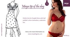 Tip of the day : Perfect bra for Punjabi Dress - MWB014  This is our classic full coverage; cotton laminate half padded bra with the unique lace detailing is playful and visually appealing.  Visit us at : www.mayalingerie.com  Shop now at : http://prettysecrets.com/maya-rust-red-bra-bikini-set