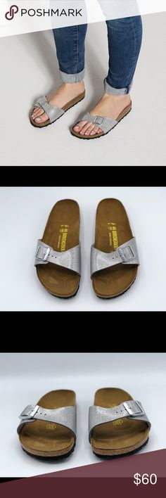 """Birkenstock Madrid Birko-Flor Sandals These are new Birkenstock Madrid Birko-Flor Sandals No Box.  Size - 40 (US 9) Color - Graceful Silver MSRP $70  The BIRKENSTOCK Madrid, a classic model that was first launched as a """"gymnastics sandal,"""" has long been an essential fashion item. Fashion and functionality come together in perfect harmony on this elegant mule.  Anatomically shaped cork-latex footbed Upper: Birko-Flor Footbed lining: suede Sole: EVA Details: flexibly adjustable metal pin…"""