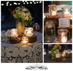 Pretty centerpieces...Mason jars with tea lights in a country chic setting.