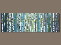 FREE SHIP abstract art birch trees panoramic by SageMountainStudio