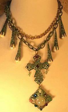 Vintage Cross Assemblage necklace, Genuine pearls, R>J> Graziano charm, 80's pendant ,verdigris, turquoise color.
