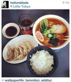 Japanese food. Yummy! Gyoza Ramen and Rice mmmmmm