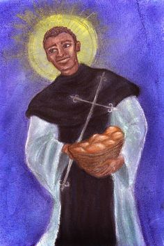 Illustration of St. Martin de Porres for Basilica of St. Mary, Norfolk
