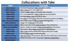 """Forum   ________ Learn English   Fluent LandCommon English Collocations with """"Take""""   Fluent Land"""