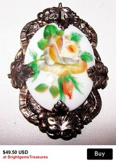 "Art Nouveau Porcelain Brooch Pin Signed Yellow Hand Painted Flower Design Sterling Silver 2"" Vintage"