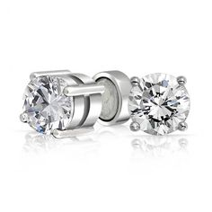 Measure: 7mm L x 7mm W Weight: 4.5 Grams Material: .925 Sterling Silver, Rhodium Plating, Cubic Zirconia