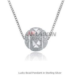 Lucky Bead Pendant in Sterling Silver Cheap Silver Jewelry, Crystal Jewelry, Beads, Crystals, Sterling Silver, Diamond, Pendant, Beading, Hang Tags