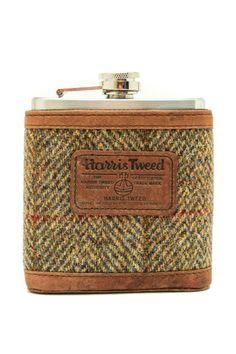 Harris Tweed Flask http://madeinsco.com/shop/6oz-blue-brown-herringbone-harris-tweed-hip-flask-made-in-scotland/
