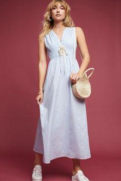 5cb9dee3d8 Lace-Up Poplin Midi Dress