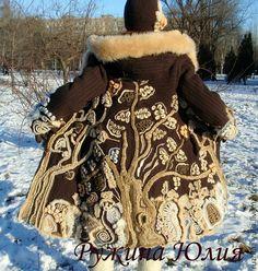 "Items similar to Freeform crochet coat ""Fairy forest"" on Etsy Crochet Lace Scarf, Crochet Coat, Freeform Crochet, Irish Crochet, Crochet Yarn, Crochet Clothes, Free Crochet, Crochet Stitches Patterns, Crochet Designs"