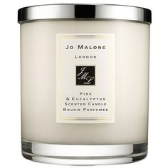 Jo Malone 'Pine & Eucalyptus' Scented Home Candle ($65) ❤ liked on Polyvore featuring home, home decor, candles & candleholders, fillers, candles, other, no color, pine scented candles, eucalyptus candle and fragrance candles