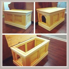dog proof odor free cat litter box/ottoman hand made from pine.  BuppWodworks https
