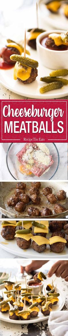 Cheeseburger Party Meatballs - tastes like a cheeseburger, in bite size form! Great for making ahead - fully assemble (inc toothpicks), 90 sec reheat in microwave. :