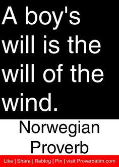 A boy's will is the will of the wind. - Norwegian Proverb #proverbs #quotes