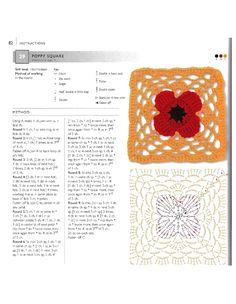 ru / Фото - 75 Floral Blocks to Crochet - nezabud-ka Diy Crochet Granny Square, Granny Square Tutorial, Crochet Blocks, Crochet Chart, Crochet Squares, Crochet Motif, Crochet Patterns, Granny Squares, Crochet Ideas