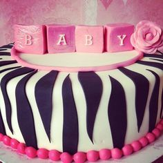 babyshower cakes hot pink and zebra print | Pink Zebra Baby Shower Cake - by TheFrostedCakeBoutiq @ CakesDecor.com ...