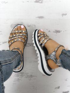 452fe63963 Ladies Rivet Multi-strap Platform Muffin Sandals Addidas Sandals