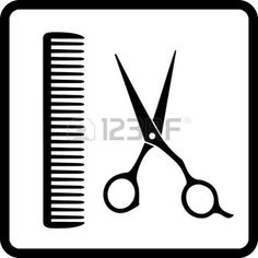 black sign of man hair salon with scissors and comb photo