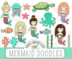 "Mermaid clip art: ""Mermaid clipart"" with hand drawn clip art, mermaid doodles, sea clip art, ocean clip art, and sea life clip art by hanaflowerdesigns on Etsy. A cute collection of hand drawn mermaid graphics that you can use for scrapbooking, cards, invites, and more!"