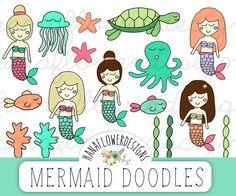 Mermaid clip art: Mermaid clipart with hand by hanaflowerdesigns