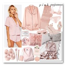 """pink pajamas"" by shehanisamara ❤ liked on Polyvore featuring ASOS, Olivia von Halle, La Perla, UGG, Acme Furniture, Agent Provocateur, Sara Happ, Essie, Christian Dior and Herbivore"