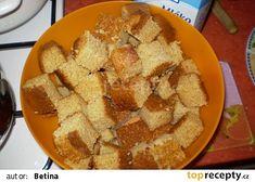 Kokosové kostky recept - TopRecepty.cz Snack Recipes, Snacks, Dairy, Chips, Food, Snack Mix Recipes, Appetizer Recipes, Appetizers, Potato Chip