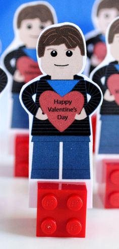 Red Rose Boywith I Love You T-Shirt Valentines Custom Designed Minifigure