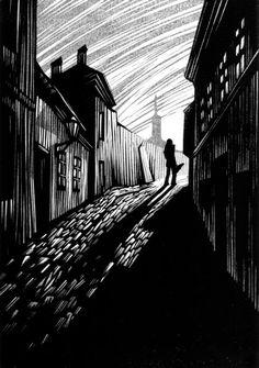 Walpurgisnacht Novel by Gustav Meyrink, linocut illustrations by Vladimir Zimakov Published by Vita Nova, St. Linocut Prints, Art Prints, Linoprint, Scratchboard, Illustrator, Chiaroscuro, Wood Engraving, Woodblock Print, Light In The Dark
