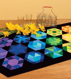 "Colorful Hexagon table runner, in: ""The New Hexagon - 52 Blocks to English Paper Piece"" By Katja Marek 