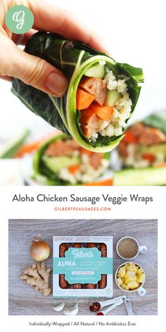 Aloha Chicken Sausage Veggie Wraps With Soy Ginger Dipping Sauce Ginger Chicken, Chicken Sausage, Easy Meals For One, Healthy Recipes, Healthy Foods, Easy Recipes, Weight Watcher Dinners, Veggie Wraps