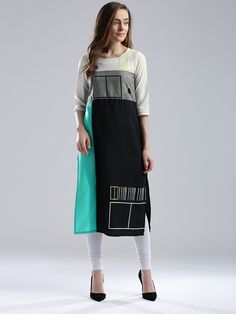 Shop W polyester printed black kurti online from G3fashion India. Brand - W, Product code - G3-WKU3144, Price - 1299, Color - Black, Fabric - Polyester,