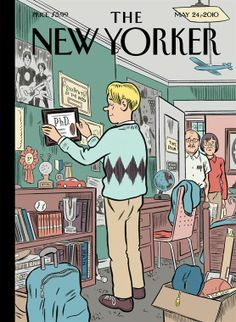"""The current issue of The New Yorker features a really great """"Boomerang Generation"""" cover illustration by Daniel Clowes. via Drawn & Quarterly The New Yorker, New Yorker Covers, Capas New Yorker, Comic Book Artists, Comic Books, Daniel Clowes, Ligne Claire, New Yorker Cartoons, Magazine Art"""