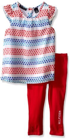 a6bdf9d73fe Tommy Hilfiger Baby Girls  Printed Chiffon Tunic and Red Jersey Legging
