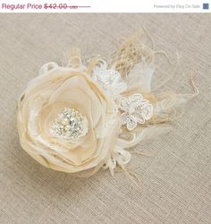 Wedding bridal hair accessories, wedding headpiece fascinator, flower hair clip, peacock fascinator, vintage rustic beige ivory tulle by LeFlowers on Etsy https://www.etsy.com/listing/153826853/wedding-bridal-hair-accessories-wedding