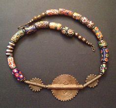 Afrocentric Jewelry - Krobo & Boule Brass Necklace on Etsy, $45.00