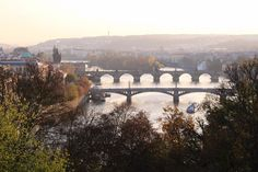 Beautiful view over the Vltava river with its famous bridges in Prague from Letná Park