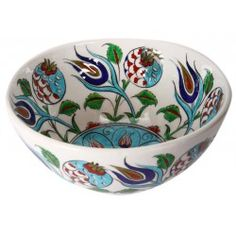 Iznik Porcelain Bowl with Pomegranate and Tulip Pattern