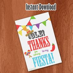 Fiesta Thank You Card PRINTABLE INSTANT by CSdesignANDprint, $5.00