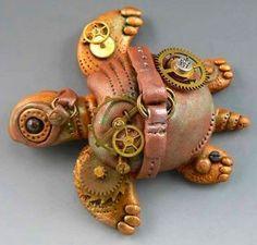 Polymer Clay Steampunk Turtle by Christi Friesen