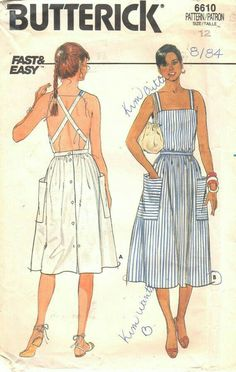 Butterick 6610 Misses Fast and Easy Sun Dress Pattern Criss Cross Back Womens Vintage Sewing Pattern Size 14 Bust 36 UNCUT - Butterick années 80 6610 manque de soleil rapide et par mbchills - Fashion Mode, Diy Fashion, Ideias Fashion, Fashion Vintage, Dress Fashion, Fashion Check, Origami Fashion, Fashion Sewing, Fashion Details