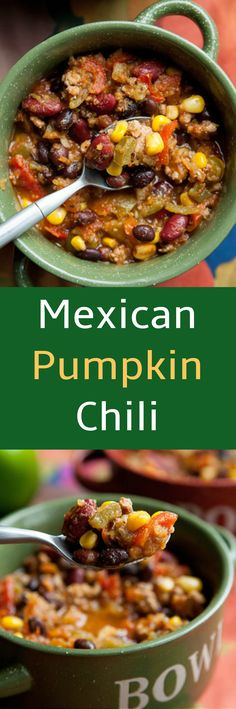 Serve your family a hearty, comforting bowl of Crockpot Mexican Pumpkin Chili. It's filled with vegetables and Mexican spices such as green chiles, salsa verde and cumin! You can freeze any leftovers (but I doubt any leftovers will be left!).