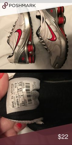Boys Nike Red Shox GUC size 4.5 ! Please ask any questions, bundle for discounts, and make offers! If your offer isn't what I had in mine, I'll just send you counteroffer. In my opinion, getting fashion for a fraction of the price is the point of these sites!  CHECK OUT MY CLOSET FOR WOMEN, MEN, AND CHILDREN CLOTHES; with name brands Such as VICTORIA SECRET - PINK  GUESS MICHAEL KORS COACH CHARLOTTE RUSSE(REFUGE) WET SEAL, GYMBOREE, CARTERS Nike Shoes Sneakers